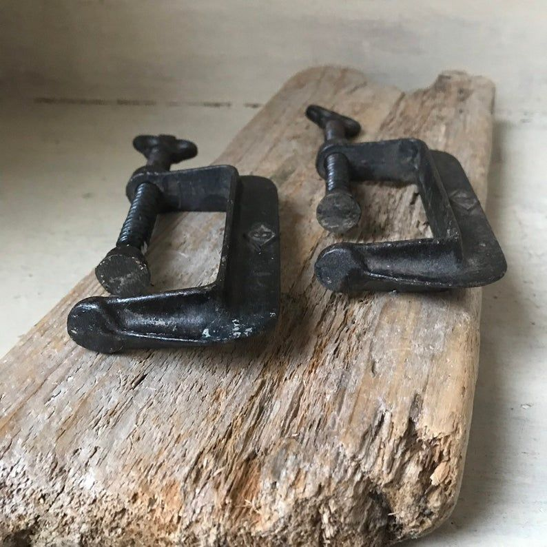 Industrial C Clamps Set Of 2 Forged Steel Woodworking Clamps Antique C Clamps Vintage Industrial Decor In 2020 Vintage Industrial Decor Forged Steel Industrial Decor