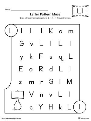 Letter L Pattern Maze Worksheet