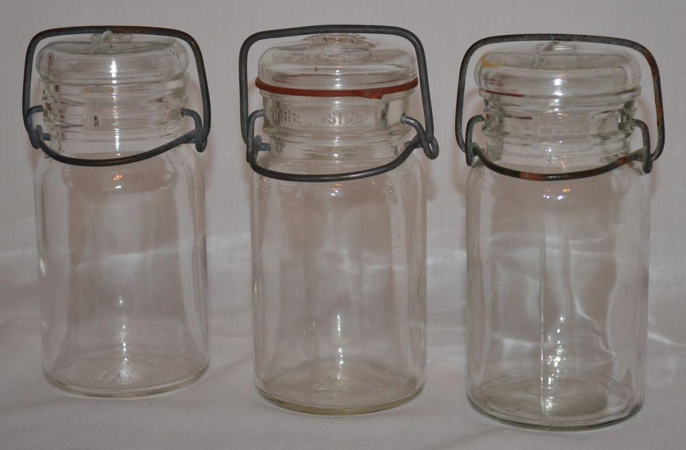 Vintage Glass Jars Wire Bail Clear Lids Farmhouse Kitchen Decor 1777 Hocking