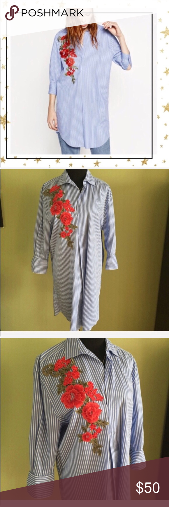Zara Overdized Shirt Dress With Flower Patch White And Blue