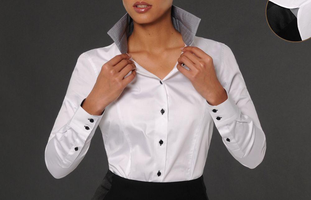 Femme Doublure Vichy Noir Chemisier Col Blanc OfficierChemise bf6yY7gv