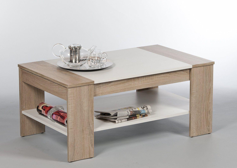 172410 couchtisch sonoma eiche weiss mit 1 ablage wohnungseinrichtung pinterest. Black Bedroom Furniture Sets. Home Design Ideas