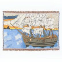 Pirate Ship at Sea Throw Blanket