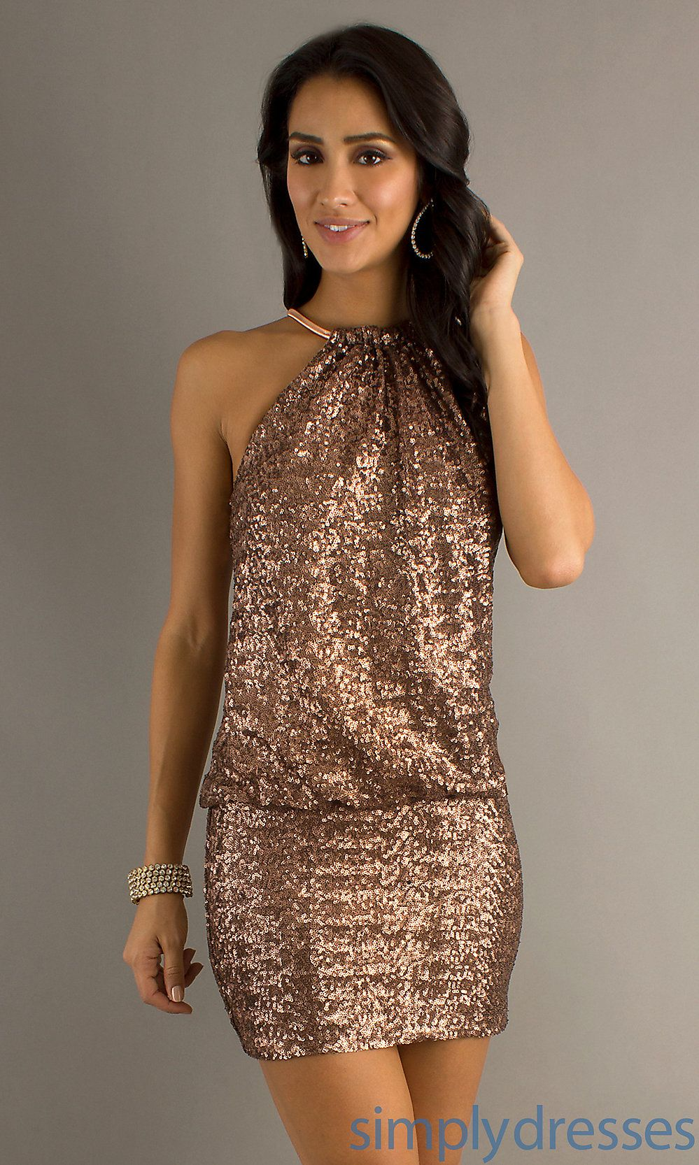 Laundry by shelli segal short sparkly rose gold color dress