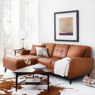 Couch Tufted Leather Sectional Brown Cowhide Rug Living Room