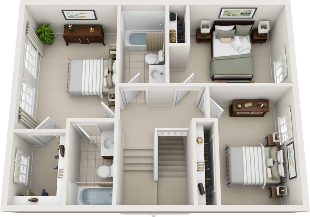 3 Bedroom 2 Bathroom Townhome 2nd Floor Floor Plans Bedroom