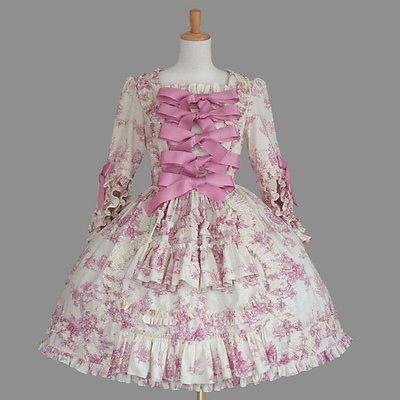 AND ROMEO Drawing Printed Pink dress Rococo Lolita hime Kawaii