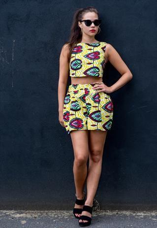 asos marketplace: african print crop top and skirt. #Africanfashion #AfricanClothing #Africanprints #Ethnicprints #Africangirls #africanTradition #BeautifulAfricanGirls #AfricanStyle #AfricanBeads #Gele #Kente #Ankara #Nigerianfashion #Ghanaianfashion #Kenyanfashion #Burundifashion #senegalesefashion #Swahilifashion DK