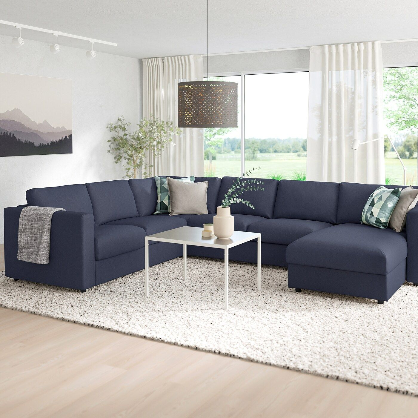 Vimle 5er Eckbettsofa Mit Recamiere Orrsta Schwarzblau Ikea Osterreich In 2020 U Formiges Sofa Recamiere Sofa