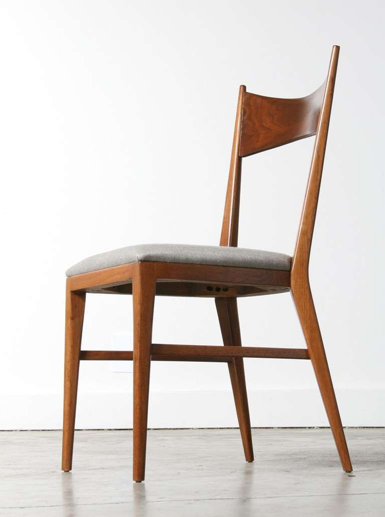 Paul Mccobb Bowtie Walnut Dining Chairs For Calvin Furniture Set Of 4 1stdibs Com Walnut Dining Chairs Dining Chairs Furniture Dining Chairs