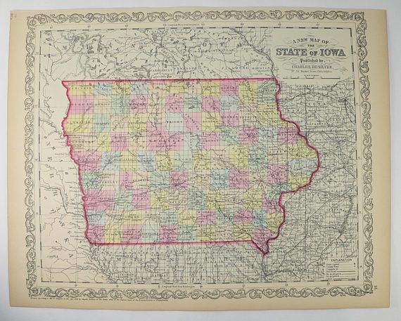 Antique Iowa Map Original Mitchell DeSilver IA Map Iowa - Vintage iowa map