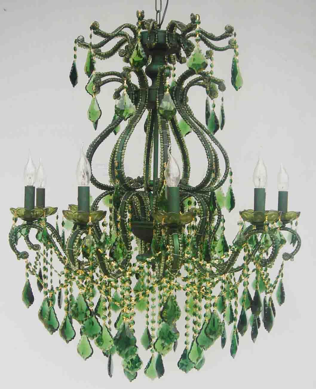 Green crystal chandelier lovely lights pinterest chandeliers green crystal chandelier arubaitofo Image collections