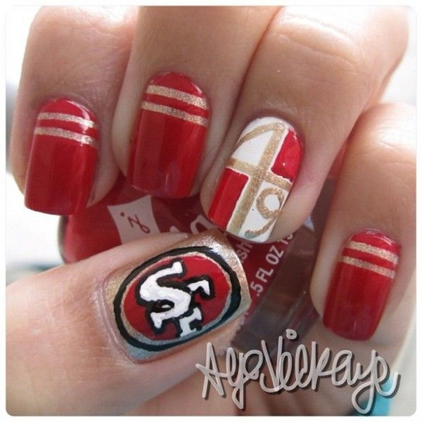 Pin By Cassie Nielsen On Love My Niners 49ers Nails Sports Nails Nfl Nails