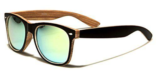 color sunglasses wood frame faux brown wood frame retro wayfarer sunglasses with color mirror lens - Wood Framed Sunglasses