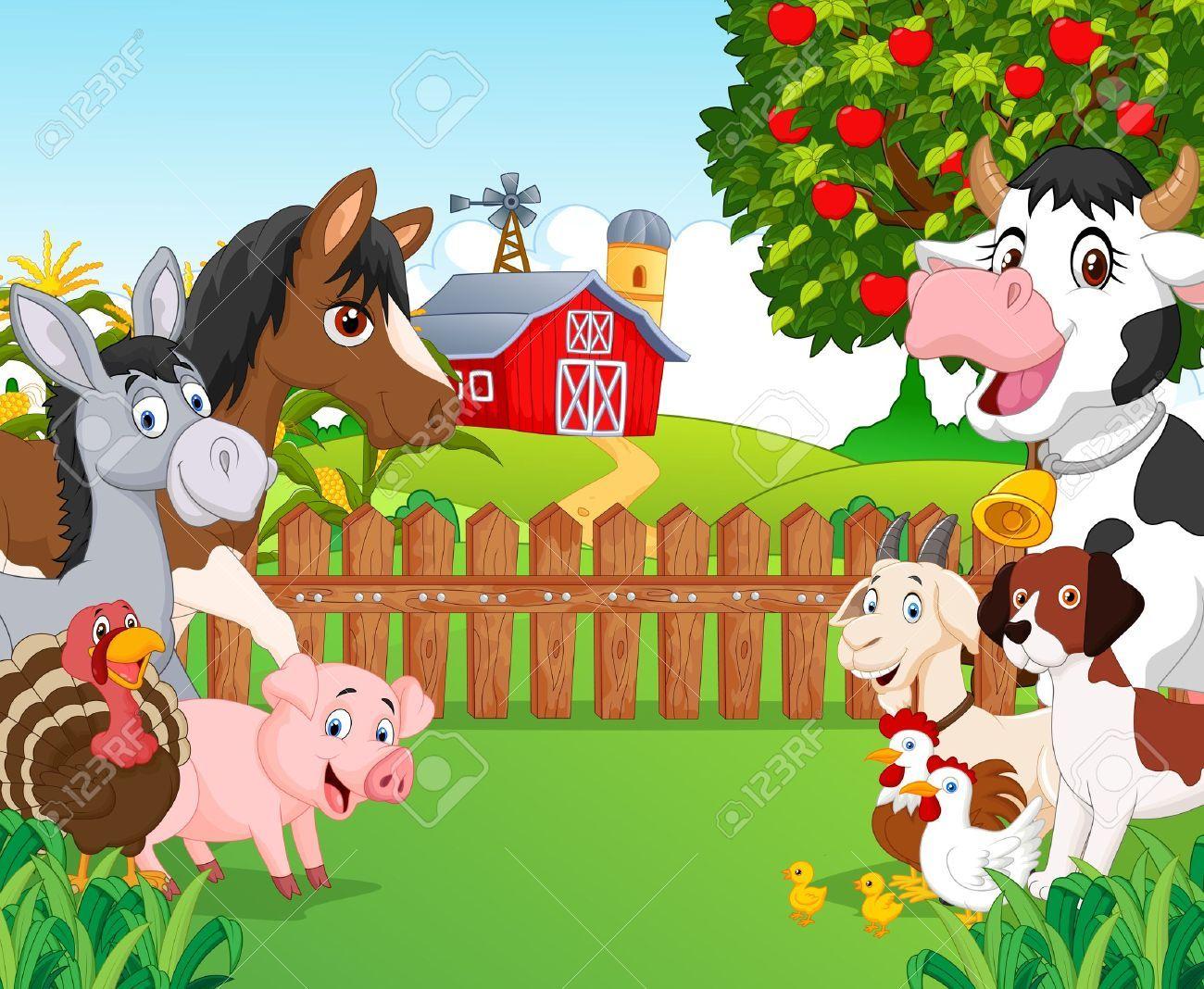 Cartoon Happy Animal Collection Animales Felices Animales De La Granja Animales