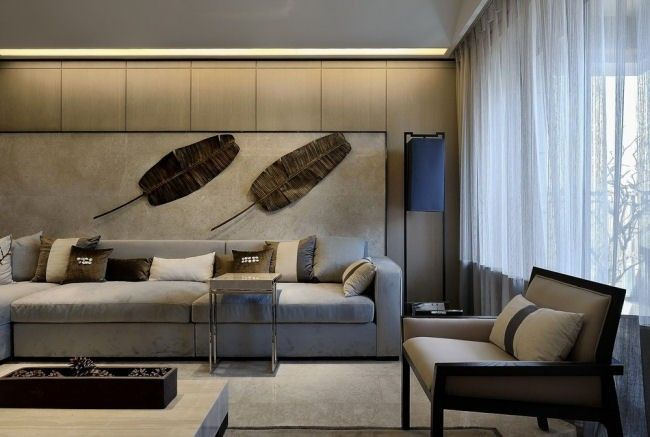 Living Room Modern Elegance In Muted Tones With Visual With