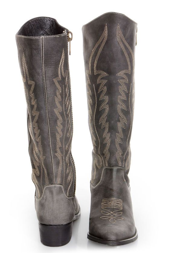 ed428dd9527 Steve Madden Graced Black Leather Embroidered Cowboy Boots at LuLus.com!