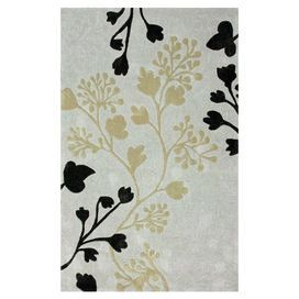 Hand-tufted rug with a floral motif.    Product: RugConstruction Material: 100% PolyesterColor: Gray and blackFeatures: Hand-tuftedNote: Please be aware that actual colors may vary from those shown on your screen. Accent rugs may also not show the entire pattern that the corresponding area rugs have.