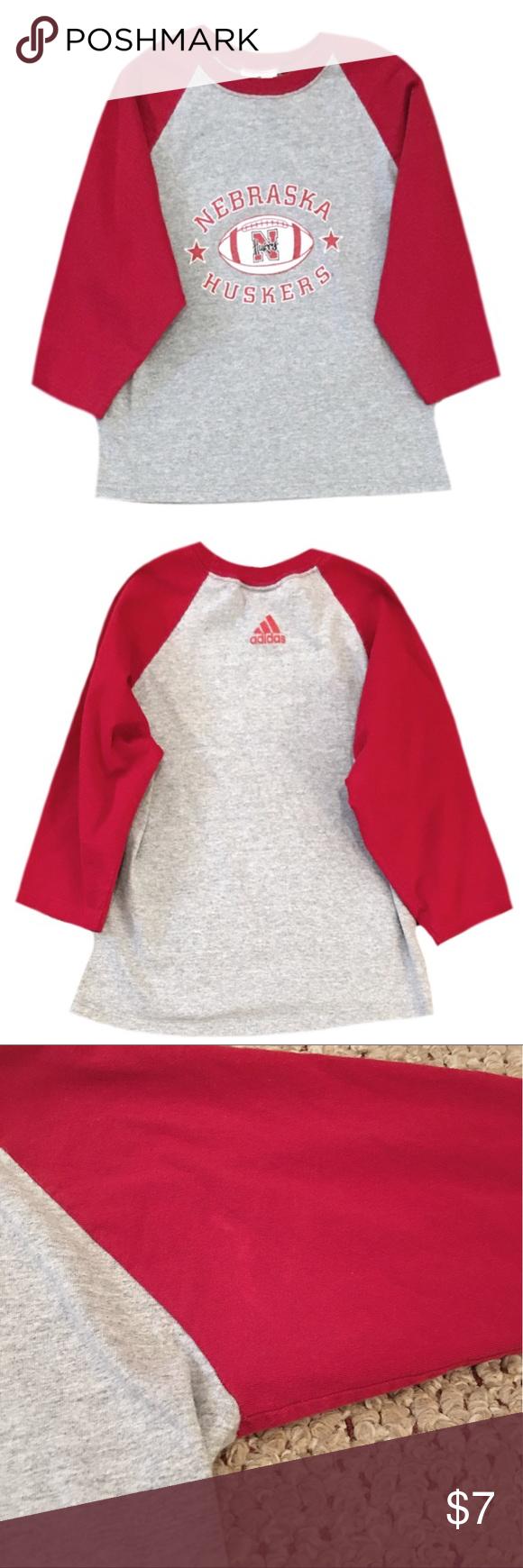 Adidas nebraska huskers sleeve top adidas cotton and gray