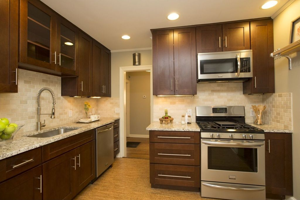 contemporary kitchen with flush light american woodmark reading cherry java cabinets flat on kitchen cabinets java id=75865