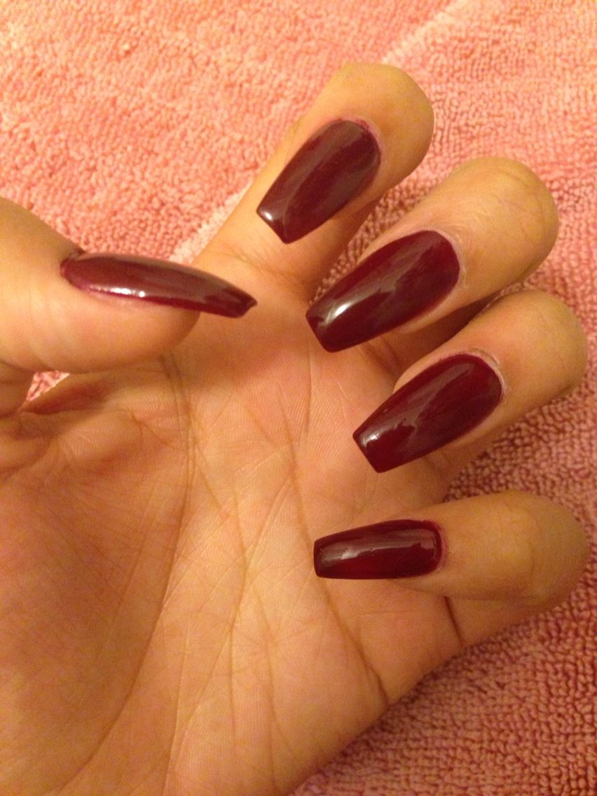 Long burgundy coffin style nails for the Fall season. | Nail art ...