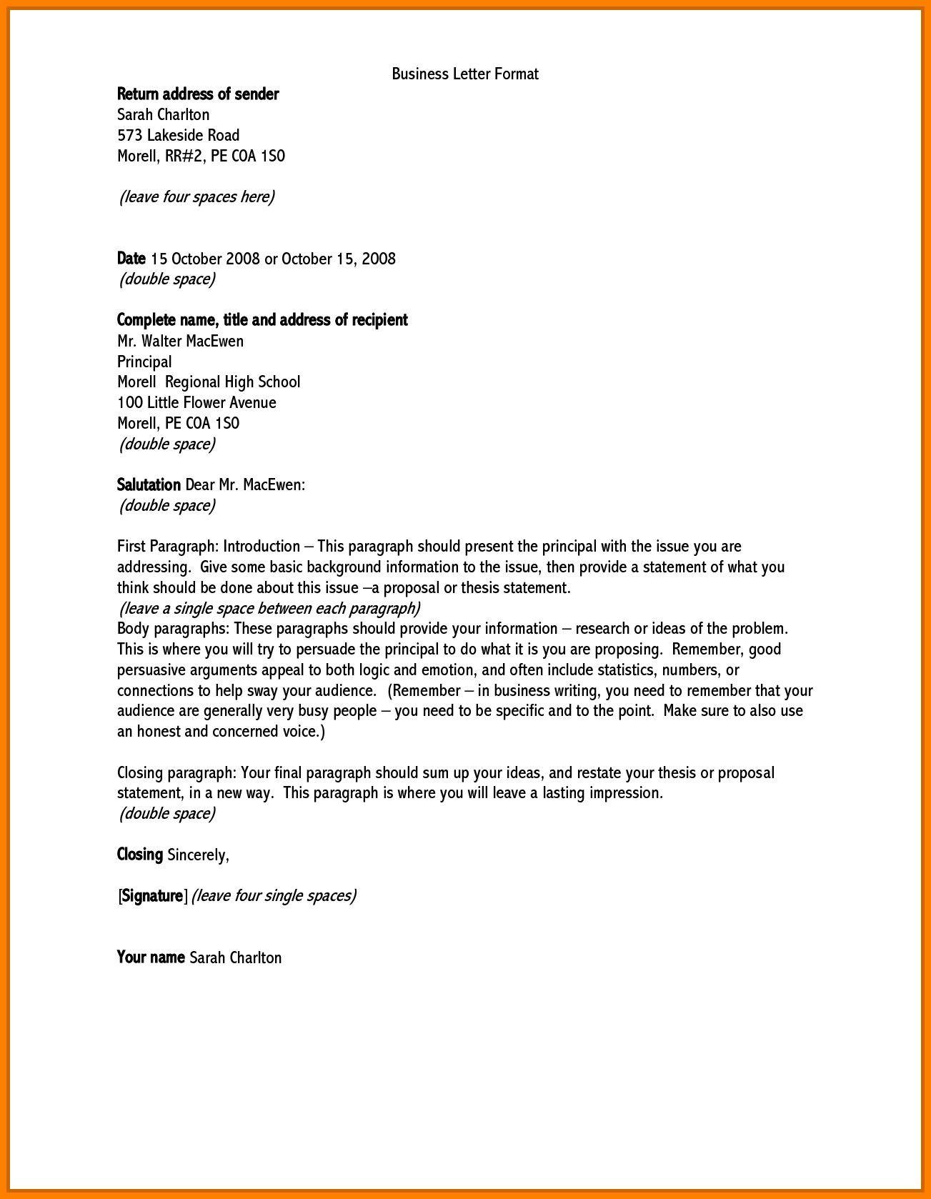 Valid English Letter Format Address