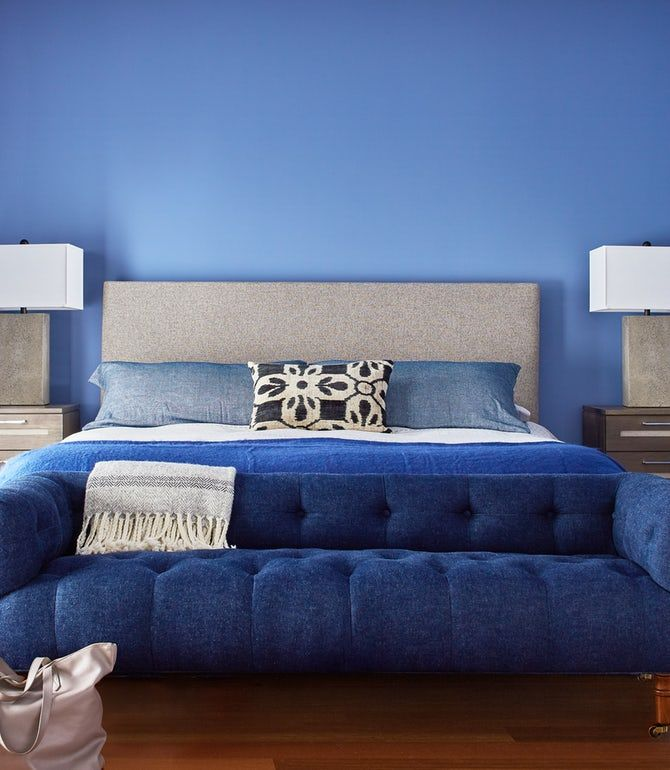 contemporary bedroom with bold blue accent couch bedroom
