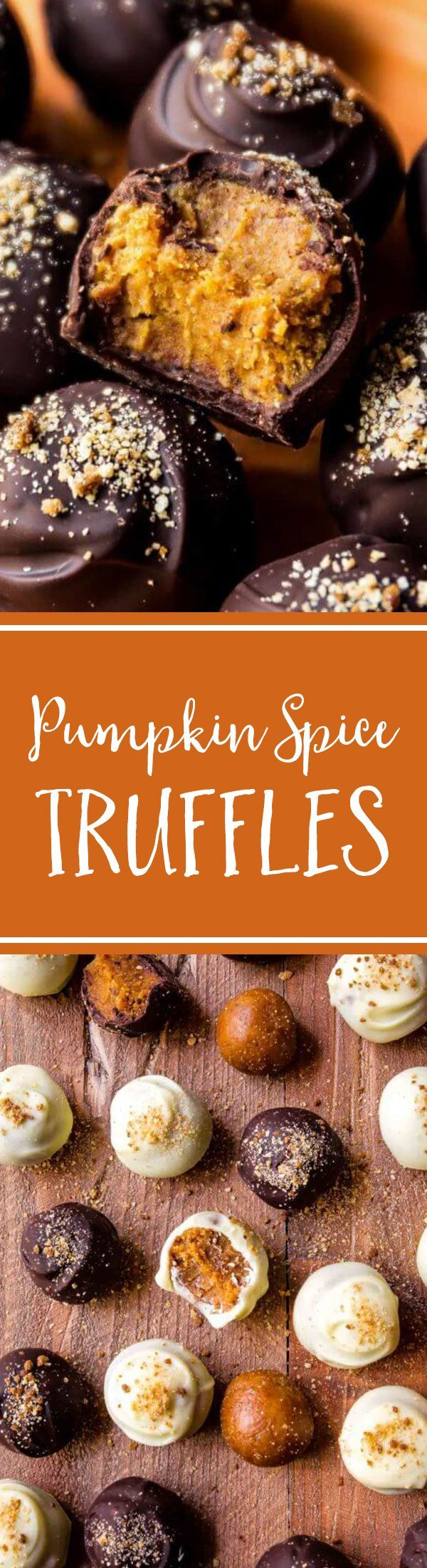the best Fall treat, make these pumpkin spice truffles-- they're surprisingly easy and can be coated in white or dark chocolate! Recipe on
