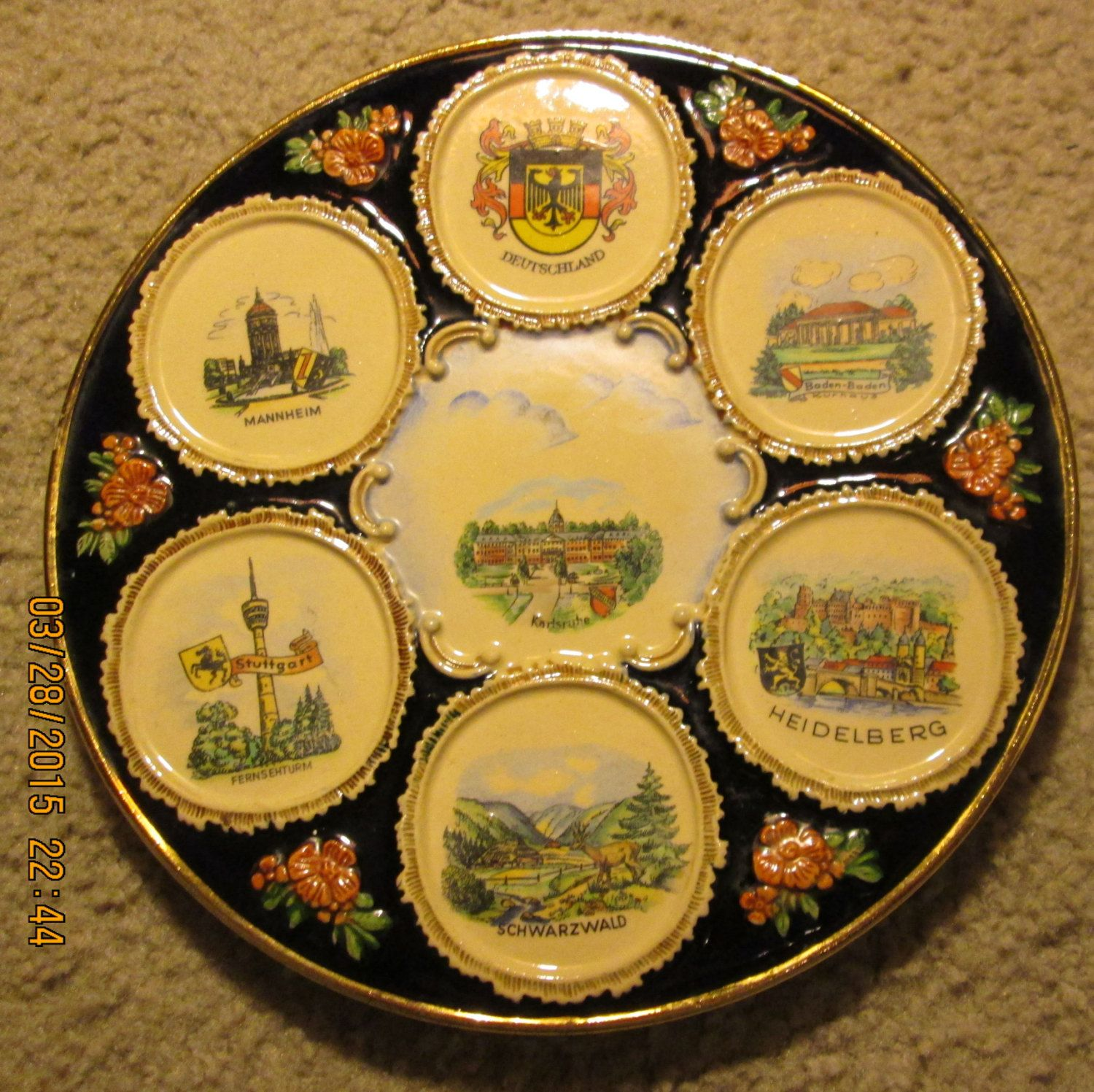 Vintage Karlsruhe Art Pottery Wall Plate manufactured by THEWALT in ...