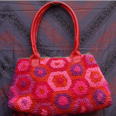 Mielie Hand Woven Bag With Leather Handles Design Tortoise Colours Hot