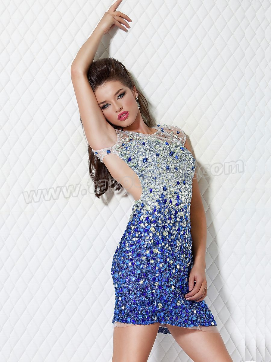 High Neck Cap Sleeved White and Royal Blue Rhinestone Embellished Cocktail Dress