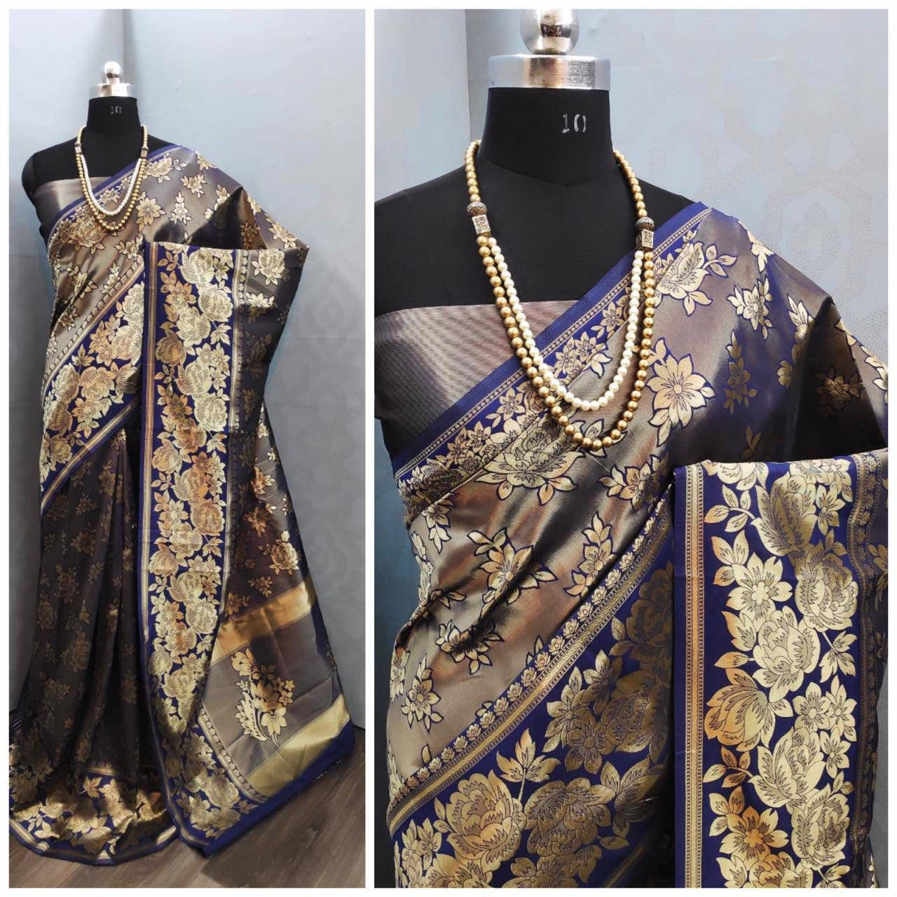 Beautiful pallu Zari all over body with peacock boxes n annam rangoli in border