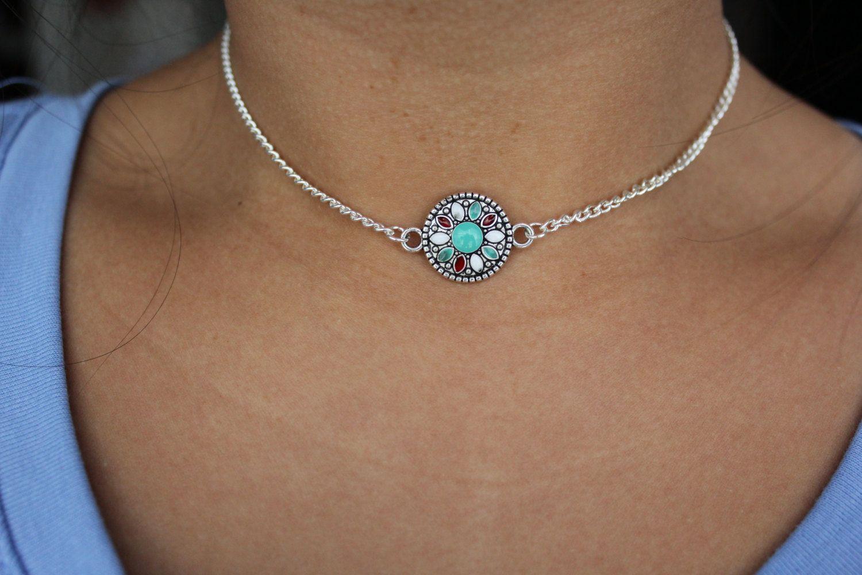 Silver Chain Choker Turquoise Mandala Choker.Bohemian Choker Silver Choker Chain Mandala Chain Choker Necklace Hippie Choker Boho Choker