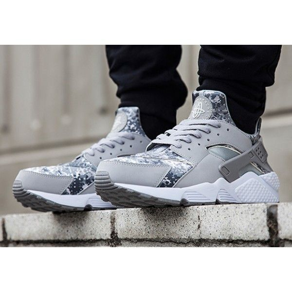 a7183792a3e Nike Air Huarache Snow Camo Pack Wolf Grey Metallic Silver On Feet ...