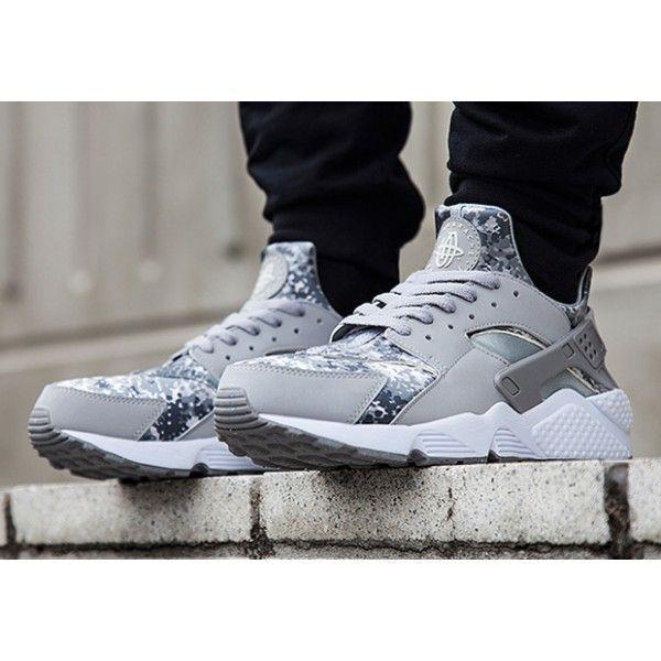 0e04bc8d20d76 Nike Air Huarache Snow Camo Pack Wolf Grey Metallic Silver On Feet ...
