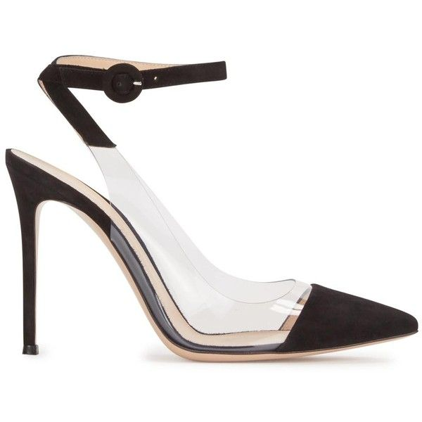 Womens Pointed-Toe Pumps Gianvito Rossi Anise Black Suede And Perspex... ($595) ❤ liked on Polyvore featuring shoes, pumps, high heel shoes, black suede pumps, pointy toe pumps, black strappy shoes and pointed toe high heel pumps