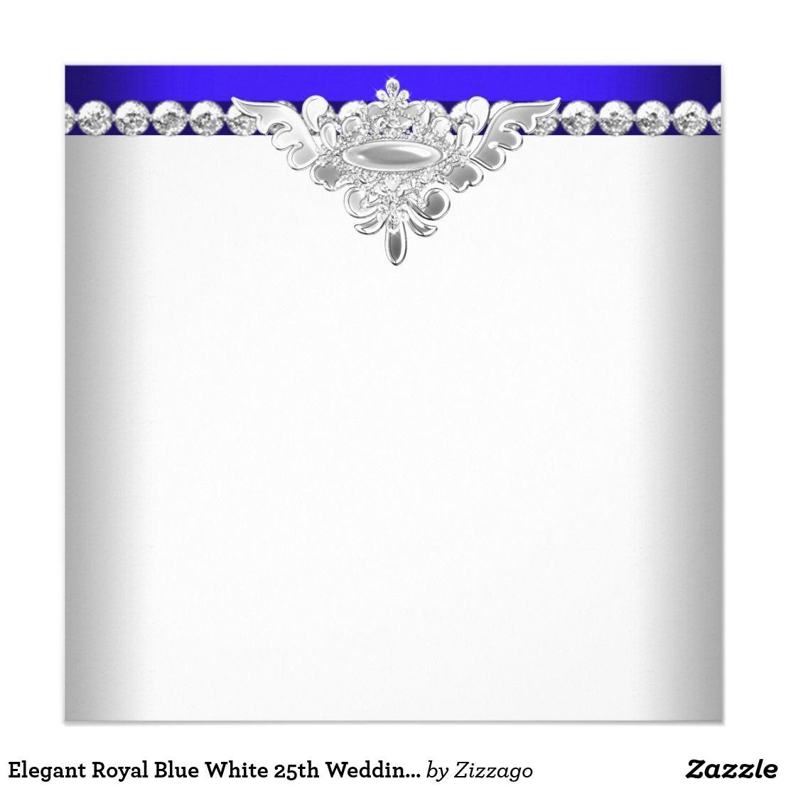 Elegant Royal Blue White 25th Wedding Anniversary Card: Blue And Silver Elegant Wedding Invitations At Websimilar.org