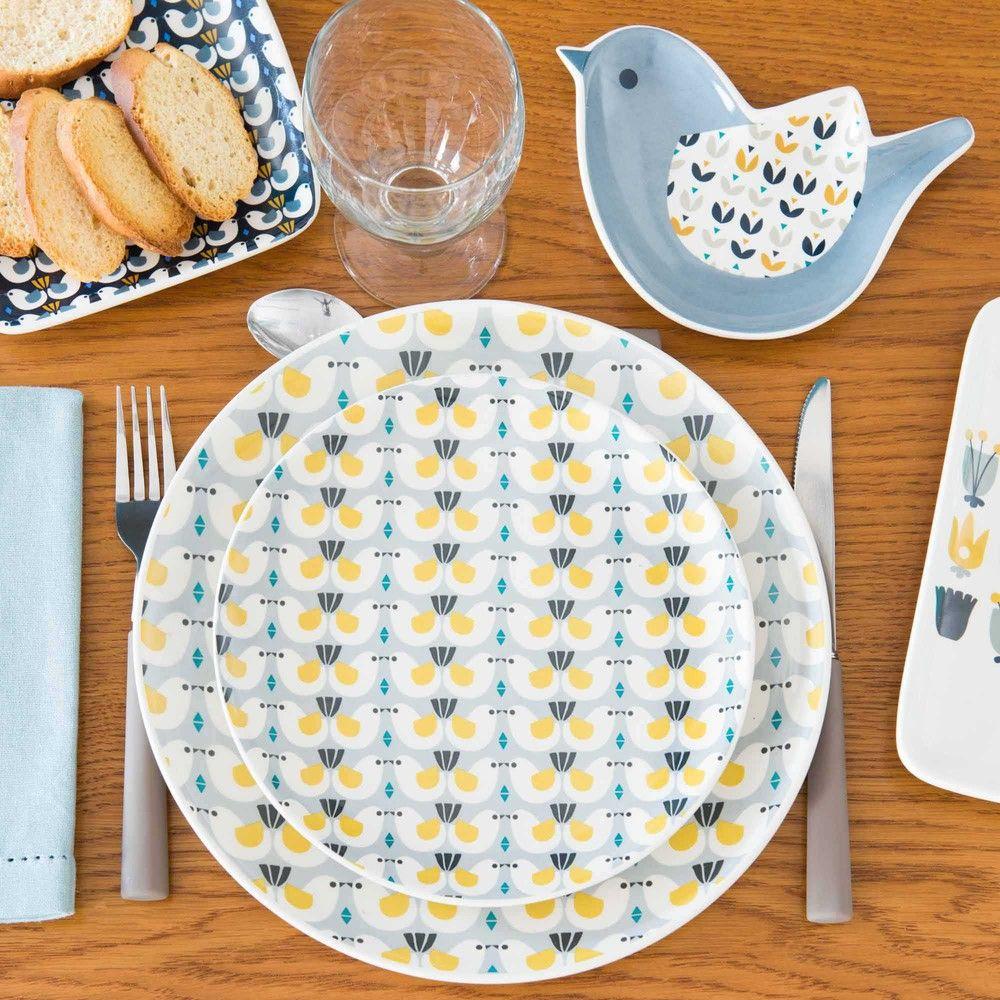 assiette plate motif oiseaux en fa ence d 27 cm portobello. Black Bedroom Furniture Sets. Home Design Ideas