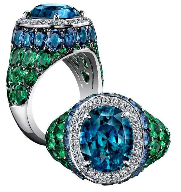 Robert Procop Sapphire, Diamond & Tsavorite Cocktail Ring. At Betteridge.