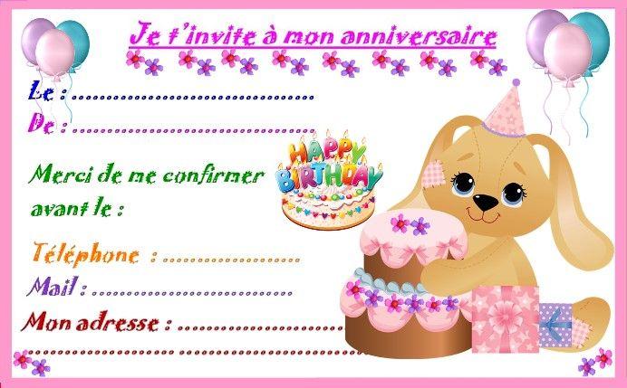 Etiquettes et invitations MODELE FILLE pour anniversaire   Modele carte invitation anniversaire