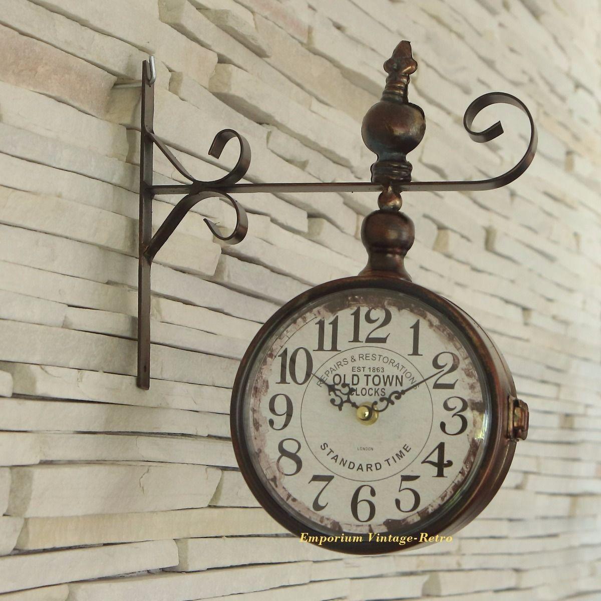 Relógio De Parede Dupla Face Estação Vintage Retrô Lindo R 174 00 Em Mercado Livre Relógio De Parede Vintage Vintage Retrô