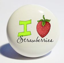 LOVE STRAWBERRIES SPRING HOME DECOR CERAMIC KITCHEN  KNOB DRAWER CABINET PULL