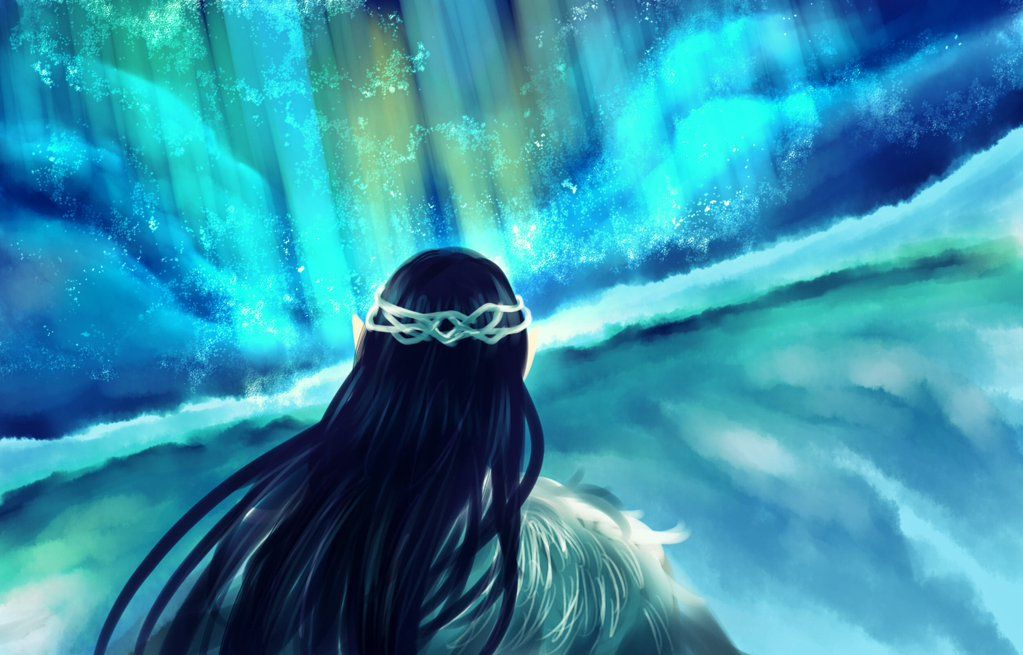 Fingolfin watching the northern lights of Helcaraxë