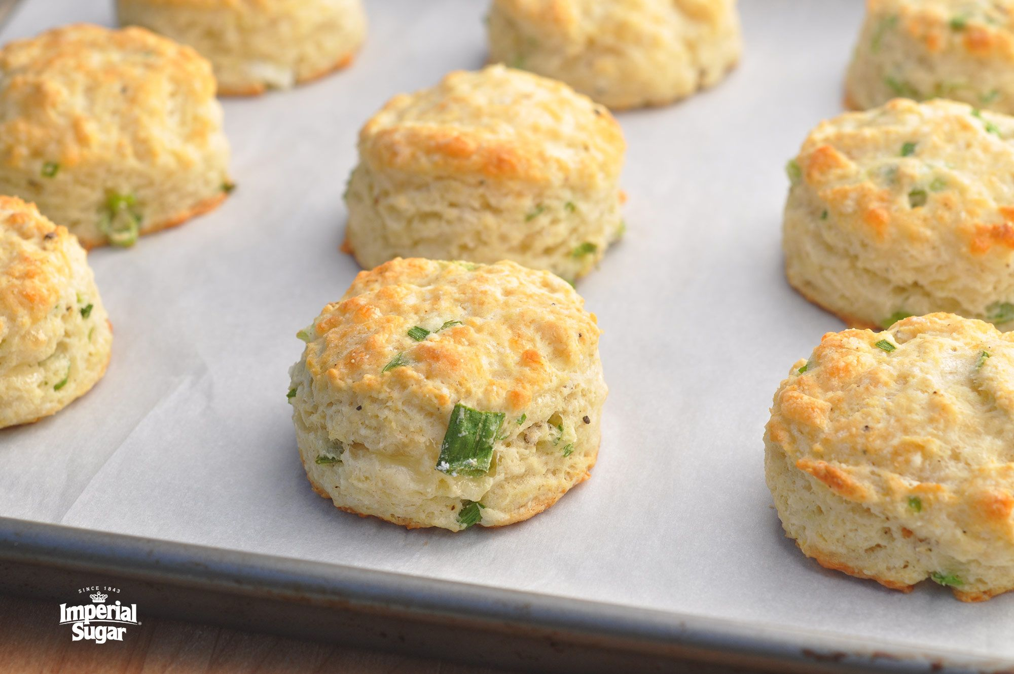 Sour Cream Cheddar And Green Onion Biscuits Imperial Sugar Sour Cream Recipes Sour Cream Biscuits Sour Cream Scones