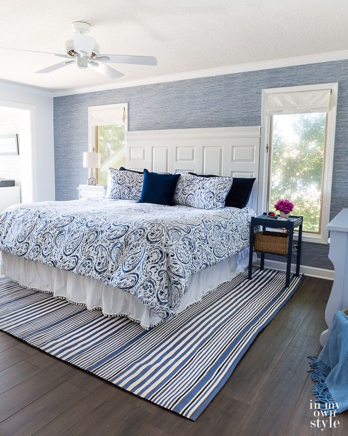 Bedroom Makeover Update Wallpapered Accent Wall Bedroom