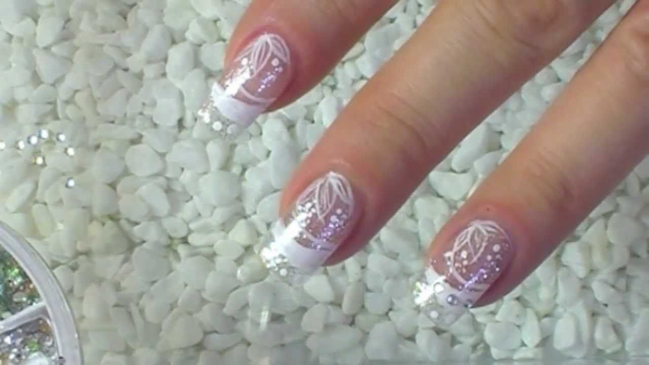 NailArt Design Tutorial silver glitter with white flowers   Just ...