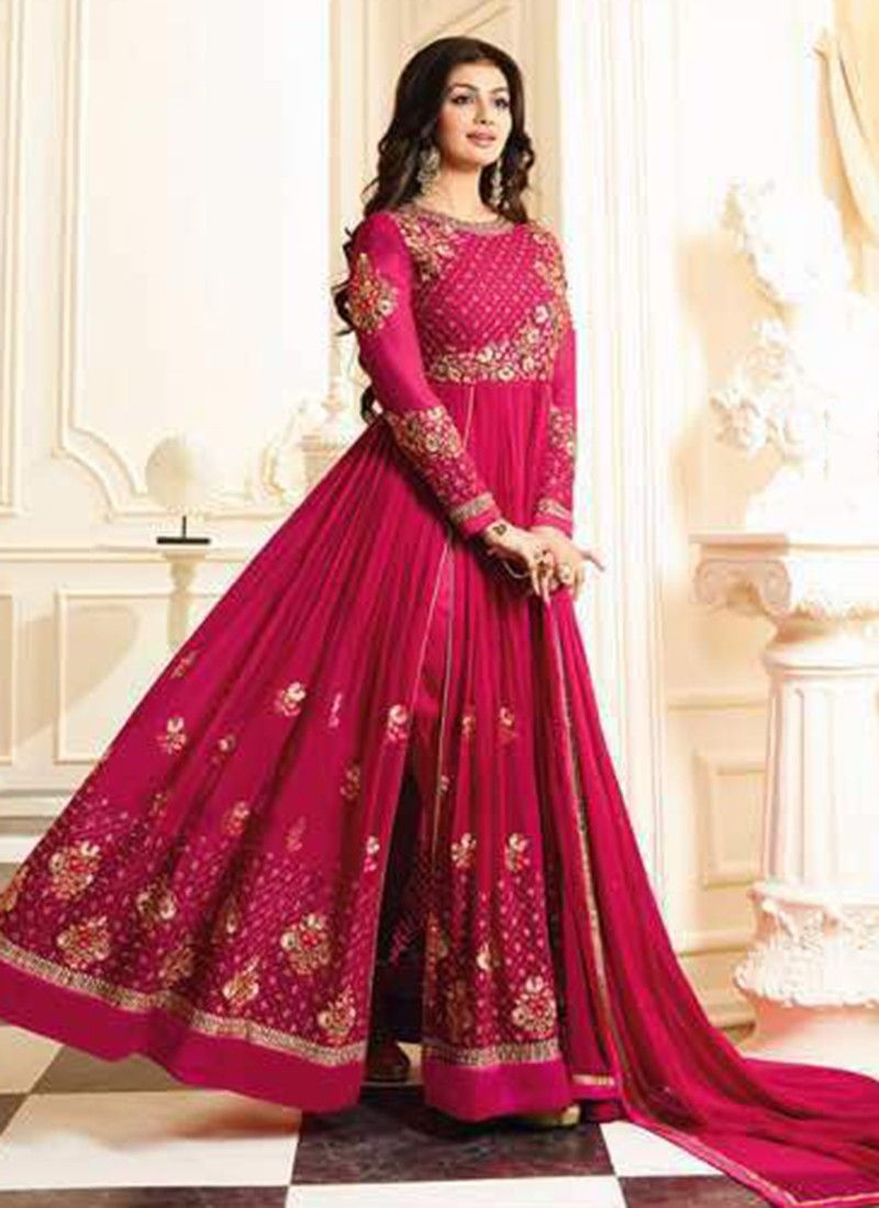 42ebe9124bf Hot Pink Designer Floor Touch Anarkali Suits Wedding Wear With Embroidered