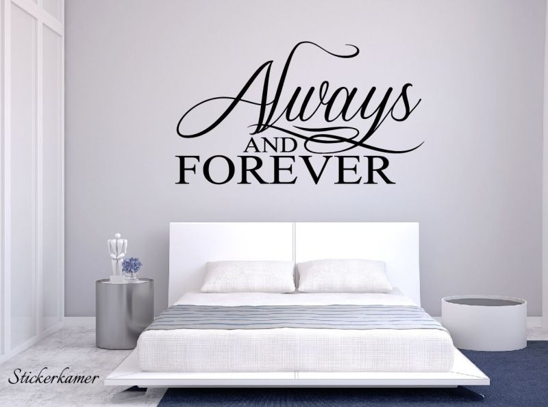 Muursticker tekst slaapkamer. Always and forever | Muursticker ...