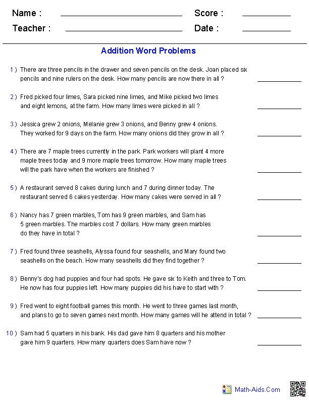 Addition Word Problems Word Problems Addition Word Problems Multiplication Word Problems