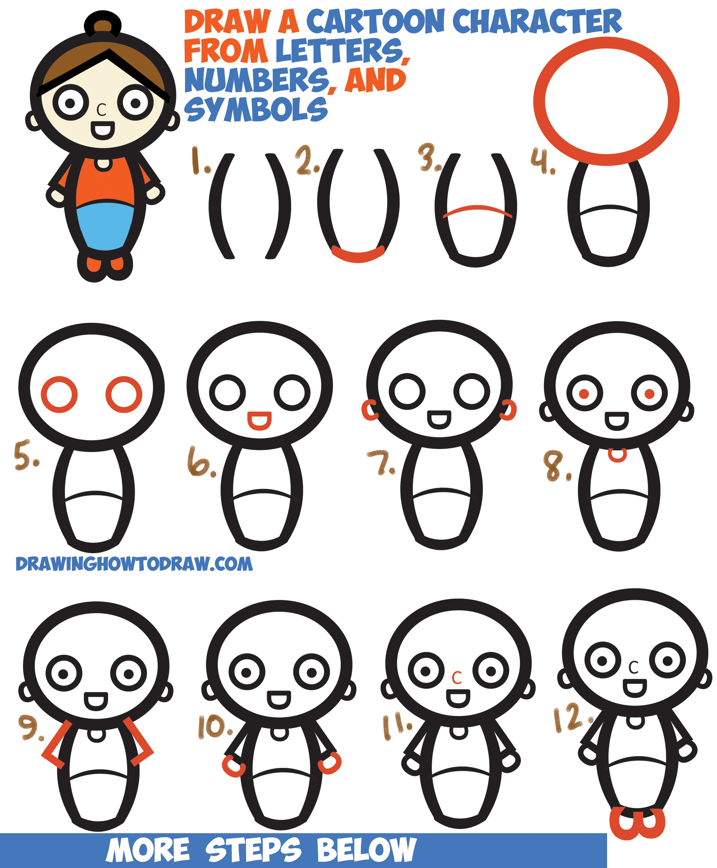 How To Draw A Cartoon Woman Character From Letters Numbers Symbols Easy Step By Step Drawing Tutorial For Kids How To Draw Step By Step Drawing Tutorials Cartoon Drawings